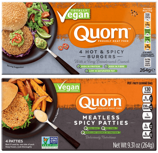 Two packages (the UK and US versions) of the new vegan spicy burger patties available from Quorn.