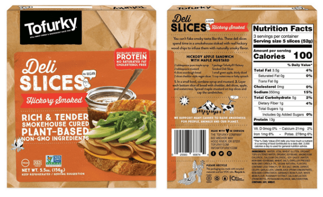 Images of the front and back of Tofurky's hickory-smoked deli slices