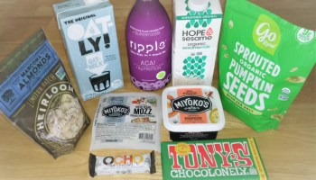 Ethical Review of the Grocery Outlet. Items purchased recently, including plant-based milk from Oatley, Ripple, and Hope & Sesame; marcona almonds and spouted pumpkin seeds, vegan mozzarella and cheese spread from Miyoko's, and chocolate from Tony's Chocolonely and OCHO.