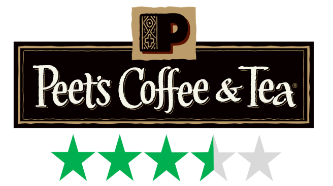 Peet's Coffee – sustainability and social responsibility, Green Stars rating. The logo for Peet's Coffee is shown with a graphic beneath it of 3.5 Green Stars, representing an ethical score.