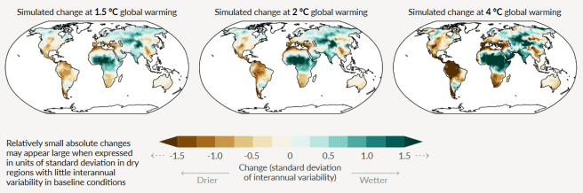 IPCC AR6 Report summary, 2021. The image shows projections of how soil moisture would change in three future climate scenarios. Three world maps show regional changes in soil moisture in response to a global temperature change of 1.5, 2.0, and 4 degrees Celcius.
