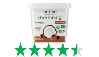 Nutiva Shortening is shown with a graphic underneath of 4.5 (out of 5) Green Stars. This is an ethical score, representing the social and environmental impact of the product.