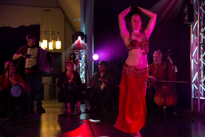 Siobhan Camille of Greenstone Belly Dance performing with Middle Eastern Inspired band, The Unfortunate Repercussions, in Dunedin, New Zealand.