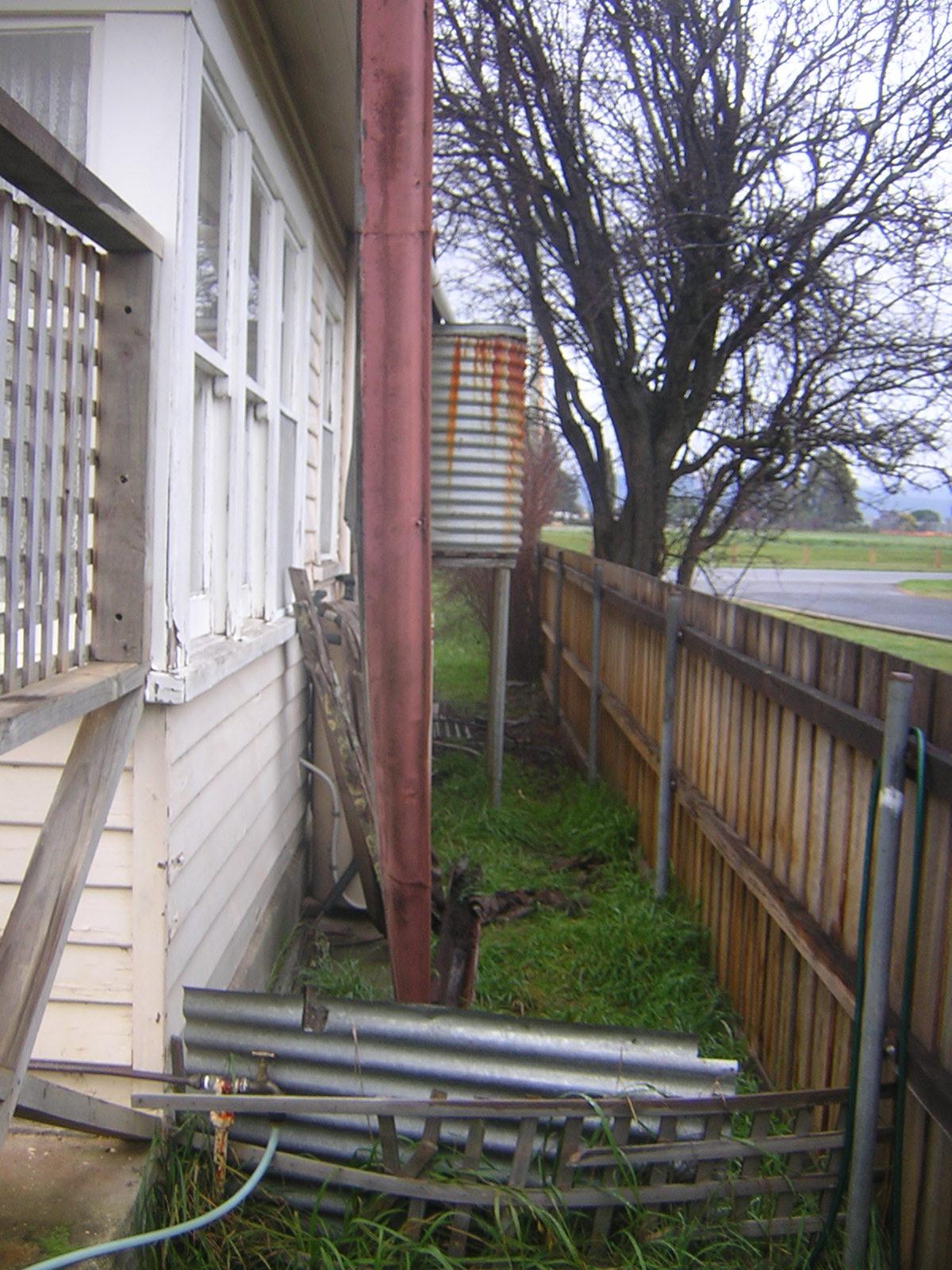 gutter western side of house