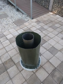 chimney surrounded by metal surround