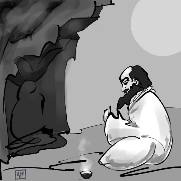 Damo meditates with a cup a tea