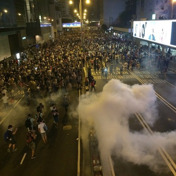 Tear gas and Protesters in 2014