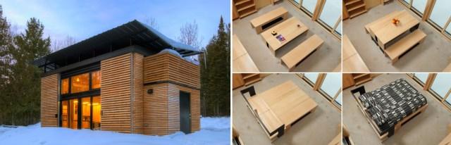Casa Edge com seus móveis multifuncionais. (Fonte: Tiny House Design).
