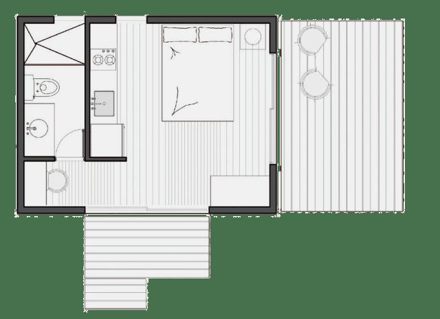 VIMOB XS é a menor de todas, com 19.2 m2. Composta por um único ambiente, um banheiro e a área externa. (Fonte: Colectivo Creativo).
