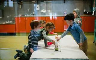 children making art together