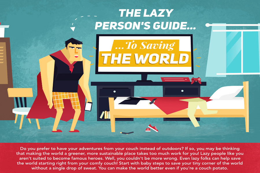 Lazy Person's Guide to Save the Environment: 5 Steps at Home (Infographic)