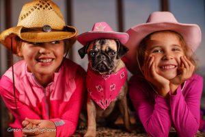 Kids and fawn pug.
