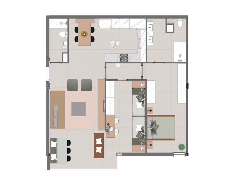 Two bedrooms apartment plan