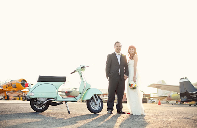 bride and groom on a scooter