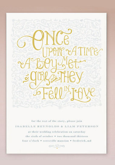 Unique Meval Castle Fairytale Once Upon A Time Wedding Invitation Front