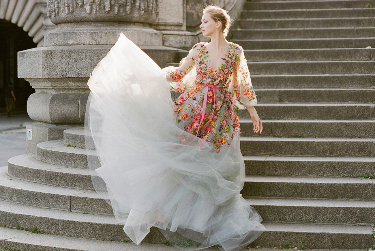Our Favorite Wedding Dresses With A Pop Of Color!