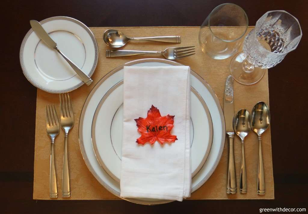 Easy Thanksgiving Place Setting Green With Decor