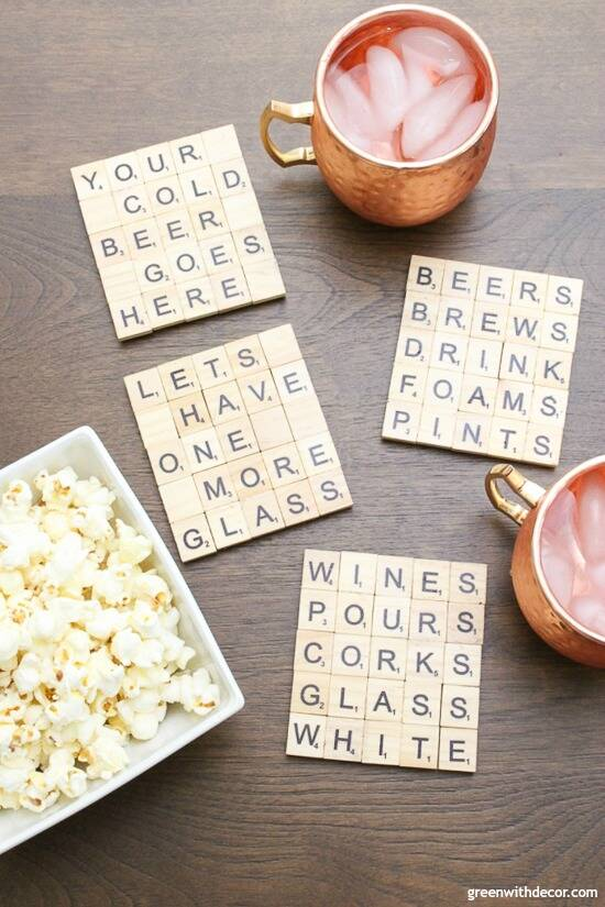 scrabble diy tile coasters by green with decor