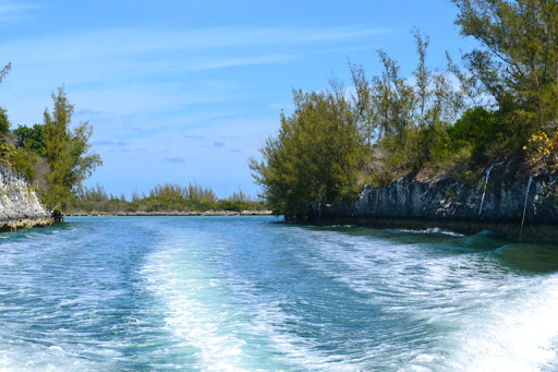 Entry to the harbor of Grand Harbor Cay, Baahamas