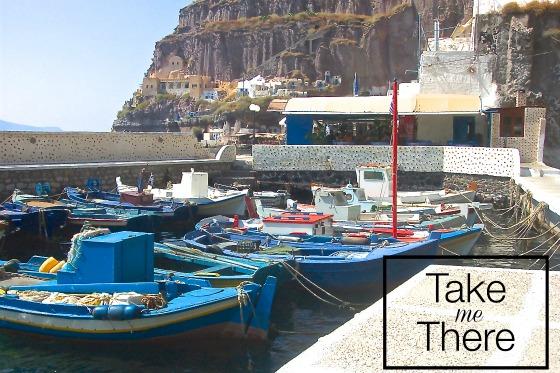 waterfront thira santorini greece