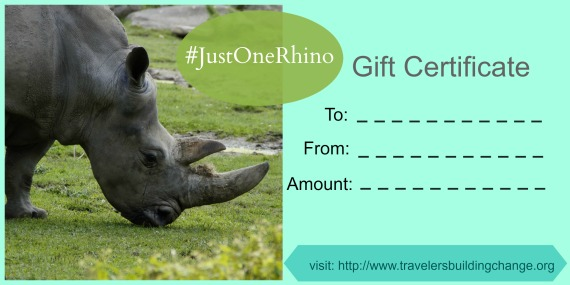 just one rhino gift certificate