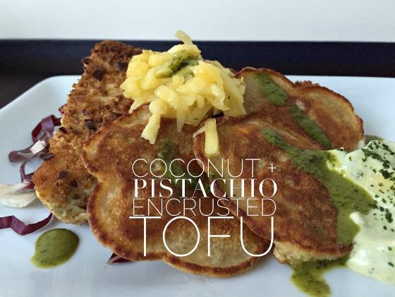 coconut pistachio encrusted tofu