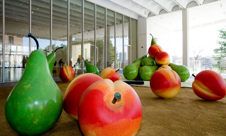 Seen through High's main lobby windows sits Pop art sculptor Claes Oldenburg's Balzac Petanque. via Atlanta CVB