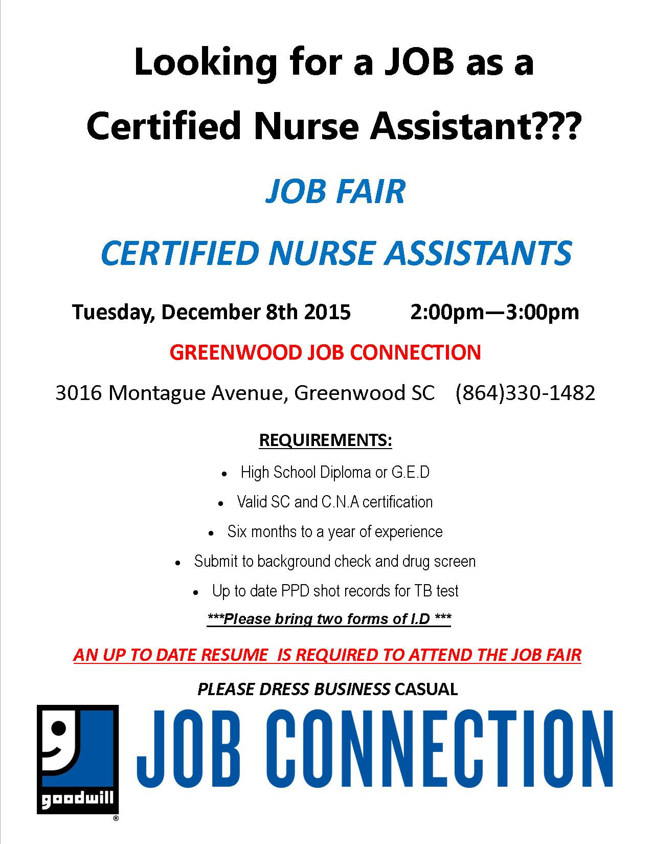 Certified Nurse Assistant Job Fair Greenwood Calendar