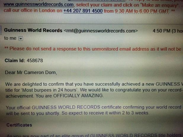 Cameron Dorn Guinness Record
