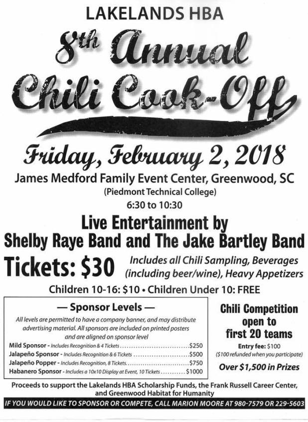 Lakelands HBA 8th Annual Chili Cook-Off