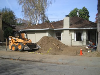 A lot of dirt has to be moved to lay a driveway.
