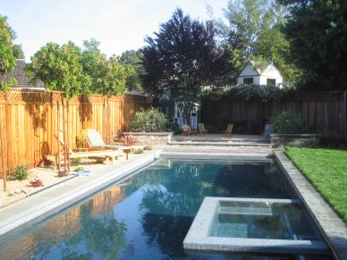 The spa was sited to take advantage of existing equipment and to preserve a lane for lap swimming.
