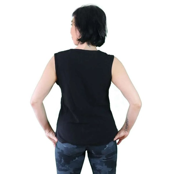 camiseta sin mangas organica antes yoga que sencilla negra y blanco detras
