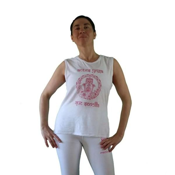 camiseta antes yoga que sencilla blanca y fuscia 2