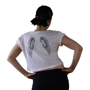 Top corto algodon organico alas en espalda