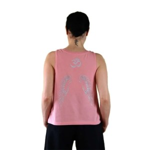 Camiseta algodón orgánico Fallen Angel rosa | plata alas en espalda