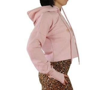 Sudadera crop orgánica rosa con capucha de mangas extra largas Om Shanti