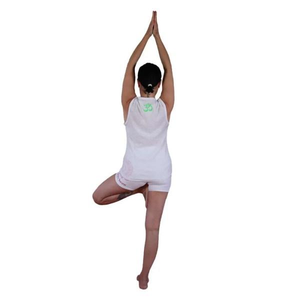 camiseta orgánica blanca sin mangas adopta un arbol espalda