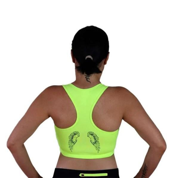 alas en espalda de sujetador deportivo amarilo fluor love yourself