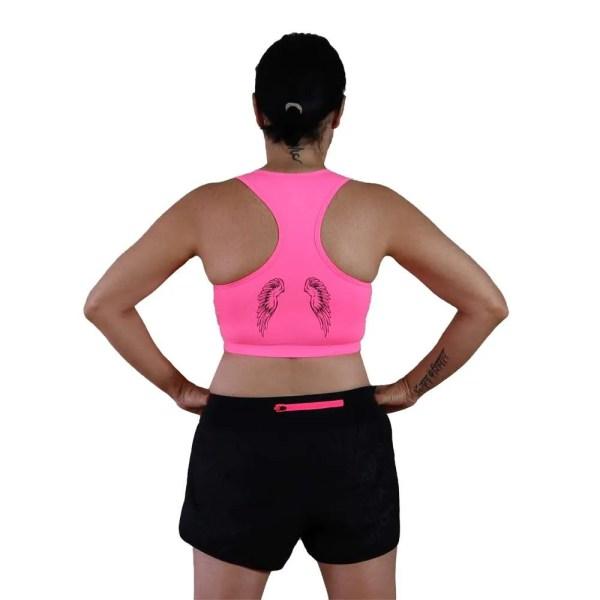alas en espalda de sujetador deportivo rosa fluor love yourself