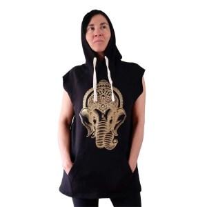 Sudadera negra sin mangas con capucha Ganesha