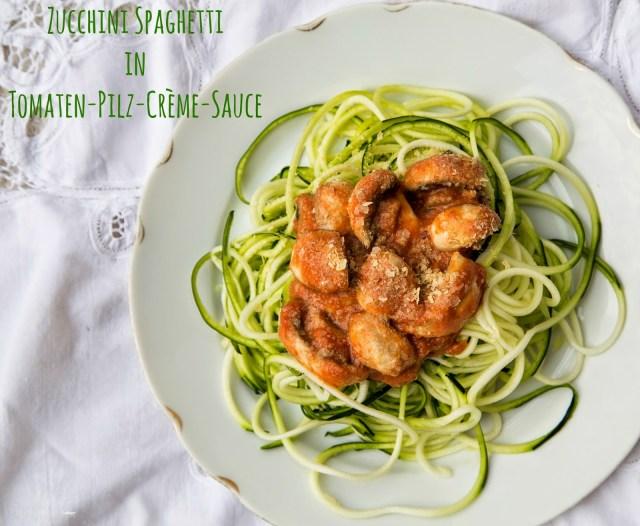 Zoodles Zucchini Spaghetti mit Tomaten-Pilz-Creme Sauce von sharonesse mit Spiralschneider