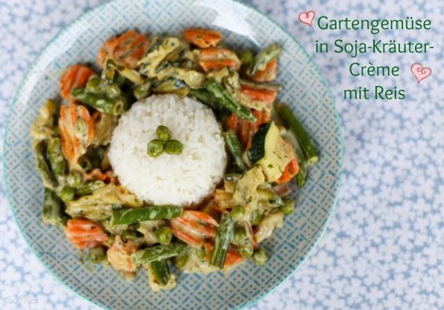 Gartengemüse in Soja-Kräuter-Crème mit Reis vegan hclf sharonesse