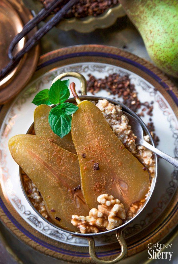 Wärmender Schoko-Chai-Birnen Porridge (vegan - ohne Soja - low fat) - www.greenysherry.com