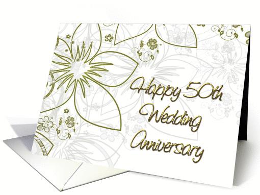50th Wedding Anniversary Gold Flowers And Swirls Card