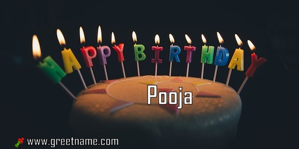 Happy Birthday Pooja Cake Candle Greet Name