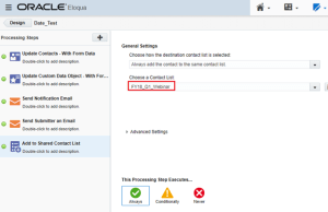 Adding contacts to a shared list from Eloqua form