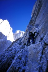 Approaching the north face of Aguja Poincenot in Patagonia