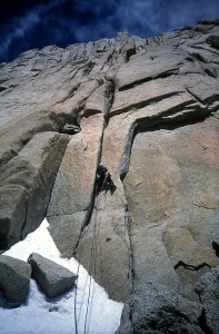 Gregory Crouch on the first ascent of the Old Smuggler's Route on the north face of Aguja Poincenot