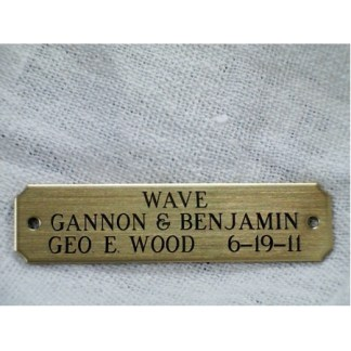 "Brass Engraved name plate 5/8"" x 2 1/2"" three lines"